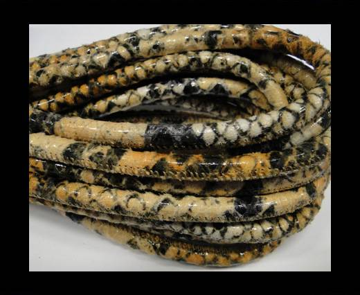 Buy Real Nappa Leather cords Round-Snake Skin Orange python-6mm at wholesale prices