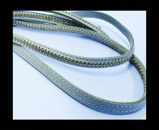 Buy Real Nappa leather with gold plated ball chains-6mm-White at wholesale prices