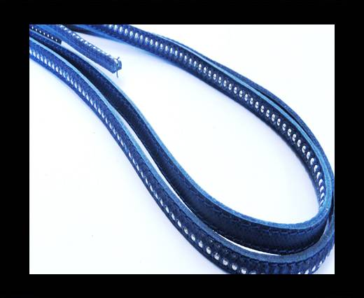 Buy Real Nappa leather with silver plated ball chains-6mm-Dark Blue at wholesale prices