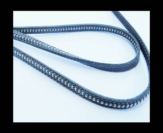 Buy Real Nappa leather with silver plated ball chains-6mm-Taupe at wholesale prices