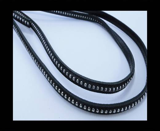 Buy Real Nappa leather with silver plated ball chains-6mm-Black at wholesale prices