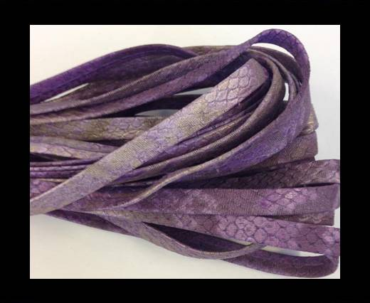Real Nappa Leather Flat- snake style-purple-10mm