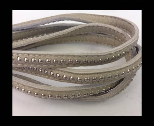 Buy Real Nappa leather with silver plated ball chains-6mm-Beige at wholesale prices