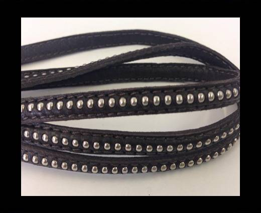 Buy Real Nappa leather with silver plated ball chains-6mm-Coffee bro at wholesale prices