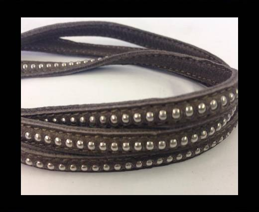 Buy Real Nappa leather with silver plated ball chains-6mm-Dark taupe at wholesale prices