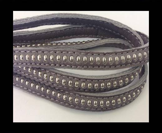 Buy Real Nappa leather with silver plated ball chains-6mm-Grey at wholesale prices