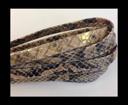Real Nappa Leather Flat-10MM-snake style-Vintage Gold