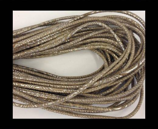 Round stitched nappa leather cord 2,5MM-Plain style-Grey beige