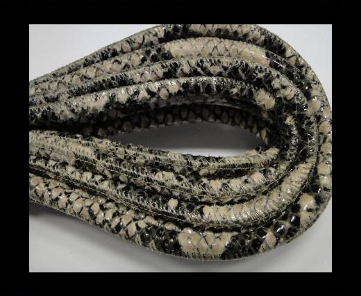 Round stitched leather cord Snake Skin Black beige Pyton-6mm