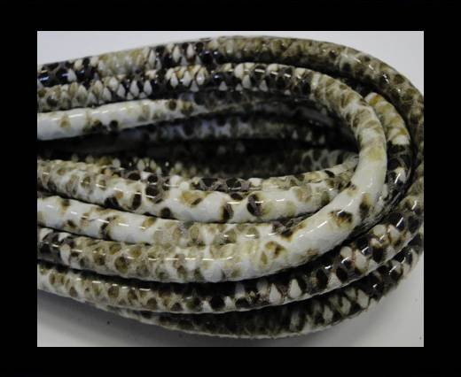 Buy Round stitched leather cord Snake Skin Light green white Pyth at wholesale prices