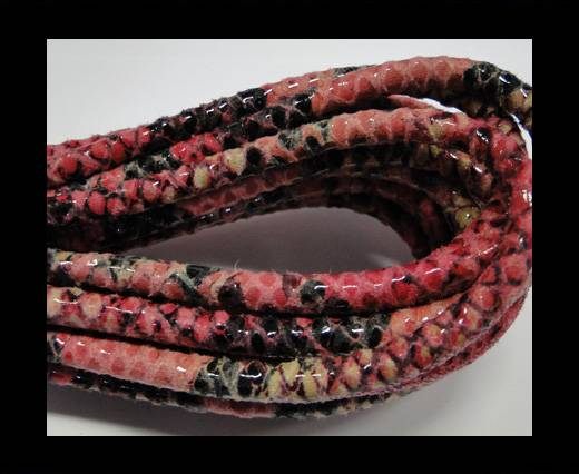 Round stitched leather cord Snake Skin Pink Pyton-6mm