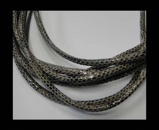 Real Nappa Leather Cords Round-Snake Skin grey-6mm