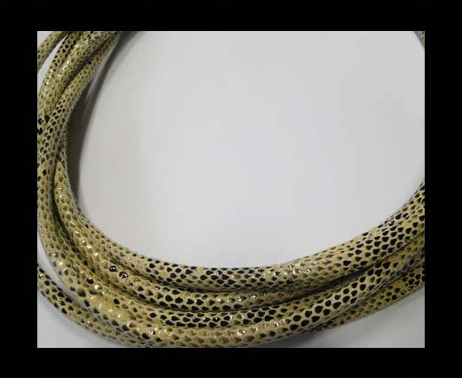 Buy Real Nappa Leather Cords Round-Snake Skin cream-6mm at wholesale prices