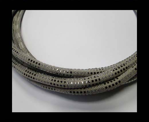 Round stitched  leather cord Snake Skin version 2 grey-6mm