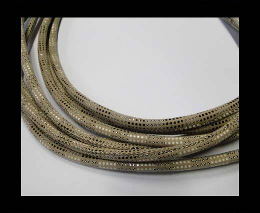 Round stitched leather cord Snake Skin version 2cream-6mm