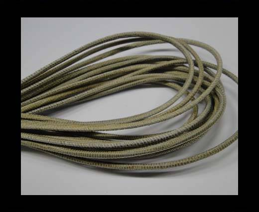 Buy Round stitched nappa leather cord 2.5MM-Lizard style-Light Sand at wholesale prices