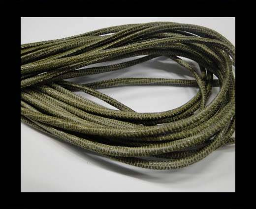 Buy Round stitched nappa leather cord 2.5MM-Lizard style-Olive at wholesale prices