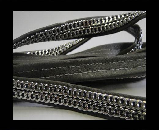 Buy Real Nappa Leather with Double Stainless Steel Chain -10mm-Dark at wholesale prices