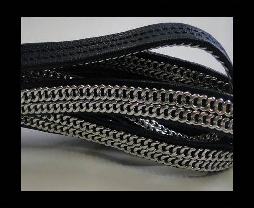Buy Real Nappa Leather with Double Stainless Steel Chain -10mm-Navy at wholesale prices