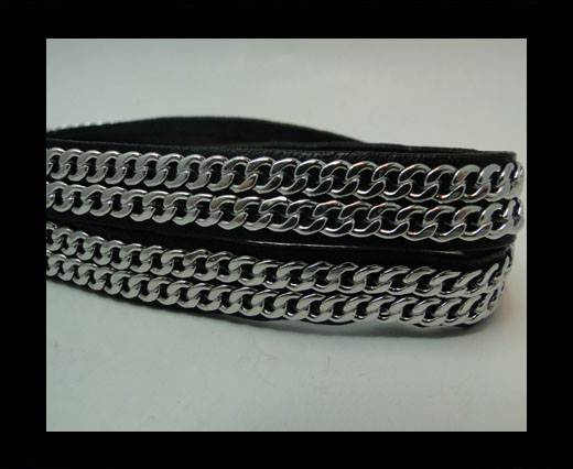 Buy Real Nappa Leather Chain Stitched-10mm-Double-Black at wholesale prices