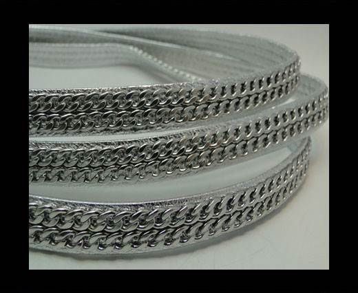 Buy Real Nappa Leather Chain Stitched-10mm-Double-Silver at wholesale prices