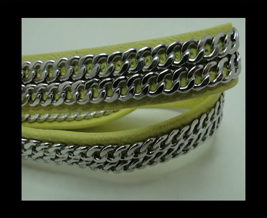 Buy Real Nappa Leather Chain Stitched-10mm-Double-Yellow at wholesale prices