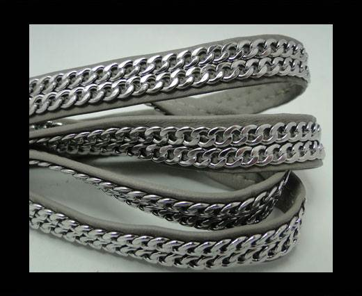 Buy Real Nappa Leather Chain Stitched-10mm-Double-Grey at wholesale prices