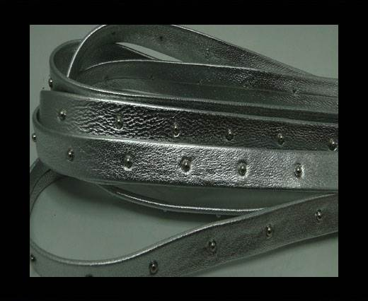 Buy Real Nappa Leather with studs - 10mm - Silver at wholesale prices