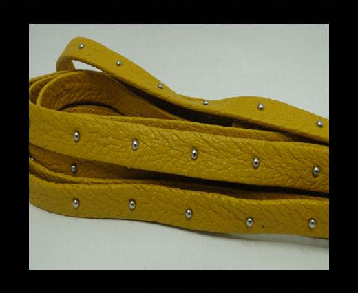 Buy Real Nappa Leather with studs - 10mm - Yellow at wholesale prices