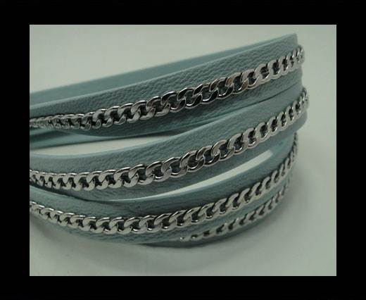 Buy Real Nappa Leather Chain Stitched-10mm-Single-Sky Blue at wholesale prices