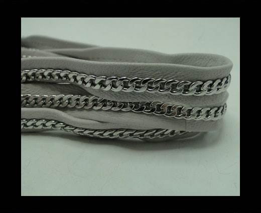 Buy Real Nappa Leather Chain Stitched-10mm-Single-Grey at wholesale prices