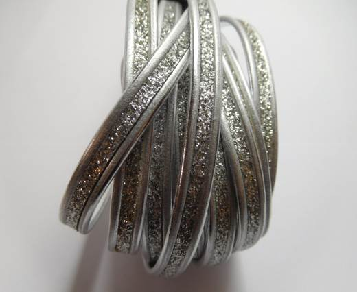 Buy Real Nappa leather- Flat silver with glitter (7mm)- 10mm at wholesale prices