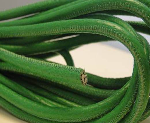 Round stitched nappa leather cord Moss green-4mm
