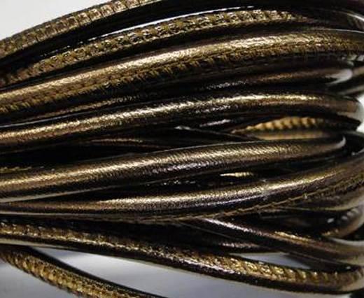 Round stitched nappa leather cord 4mm- Metallic bronze