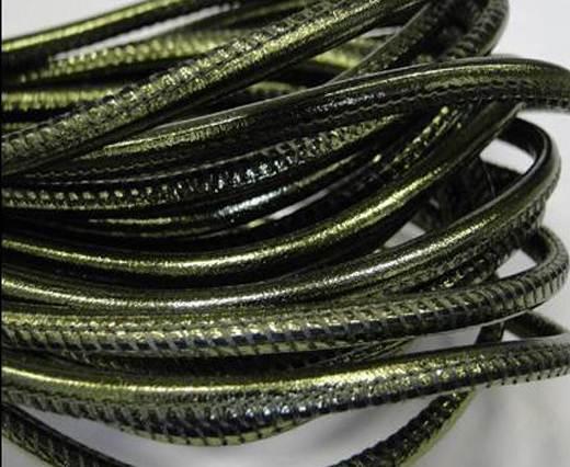 Round stitched nappa leather cord 4mm-Metallic green