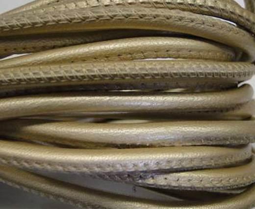Round stitched nappa leather cord 4mm-Metallic ivory