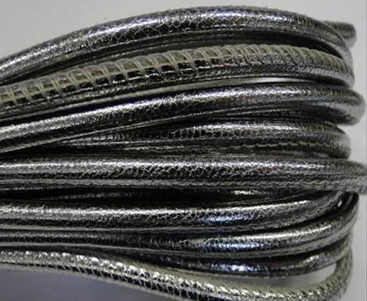 Round stitched nappa leather cord 4mm-Metallic silver