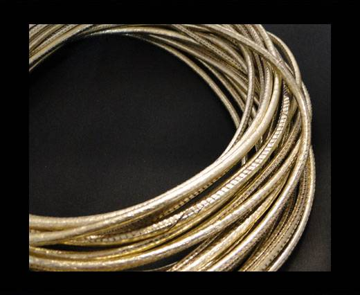 Buy Round stitched nappa leather cord Gold-4mm at wholesale prices