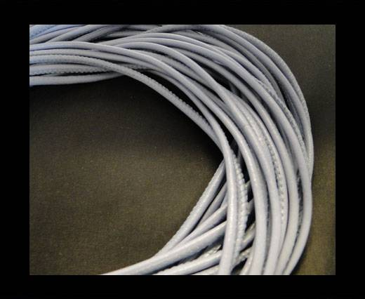 Round stitched nappa leather cord Blue Grey-6mm