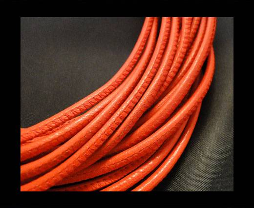 Round stitched nappa leather cord Red-6mm