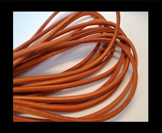 Buy Round stitched nappa leather cord Orange-4mm at wholesale prices