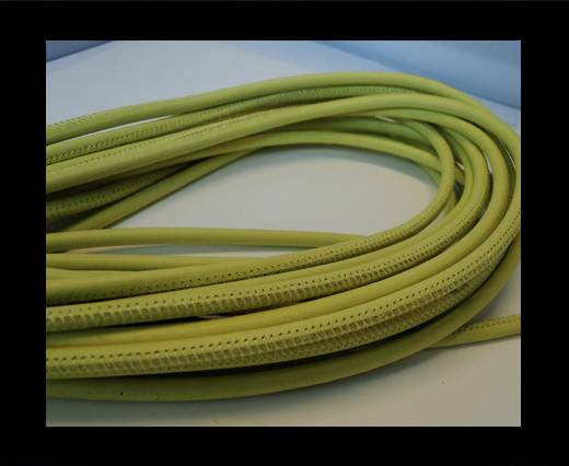 Buy Round stitched nappa leather cord Pastel Lime-4mm at wholesale prices