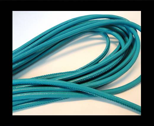 Buy Round stitched nappa leather cord Turquoise-4mm at wholesale prices