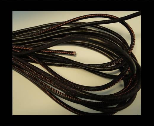 Round stitched nappa leather cord Crackled Bordeaux-6mm