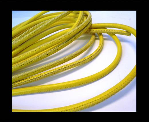 Round stitched nappa leather cord Yellow-6mm