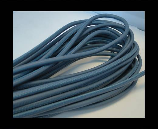 Round stitched nappa leather cord Steel Blue-6mm