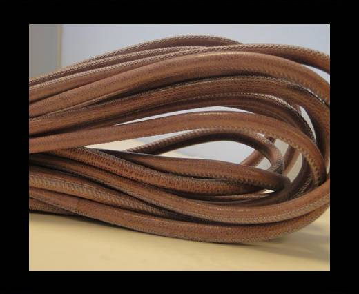 Buy Round stitched nappa leather cord Dark Rose-4mm at wholesale prices