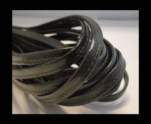 Buy Round stitched nappa leather cord Dark Sepia-4mm at wholesale prices