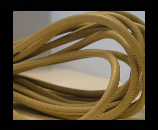Buy Round stitched nappa leather cord Light Beige-4mm at wholesale prices