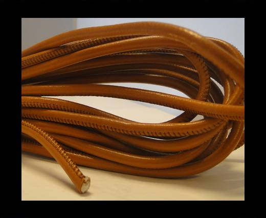 Buy Round stitched nappa leather cord Light Orange-4mm at wholesale prices